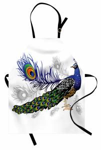 Tavus Kuşu Desenli Mutfak Önlüğü Beyaz Fon Şık Tasarım