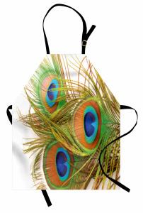 Tavus Kuşu Tüyü Desenli Mutfak Önlüğü Yeşil Mavi Şık