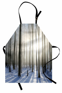 Karlı Orman Gün Doğumu Mutfak Önlüğü Beyaz