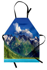 Göl ve Karlı Dağ Temalı Mutfak Önlüğü Huzur Verici