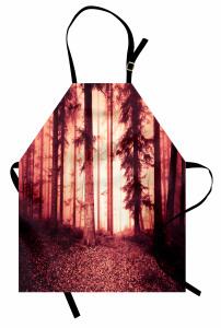 Orman Dökülmüş Yaprak Mutfak Önlüğü Kırmızı