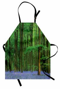 Orman ve Çiçekler Mutfak Önlüğü Yeşil ve Mavi