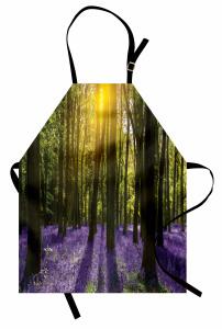 Güneş Orman ve Çiçek Mutfak Önlüğü Yeşil ve Mor