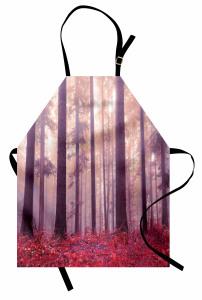 Sis Orman ve Yaprak Mutfak Önlüğü Kırmızı Mor