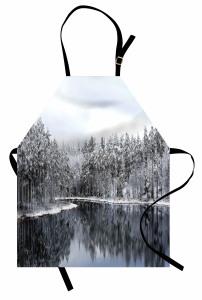 Karlı Ağaç Göl Temalı Mutfak Önlüğü Kış ve Doğa
