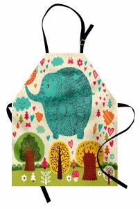 Rengarenk Fil ve Ağaç Mutfak Önlüğü Çocuklara