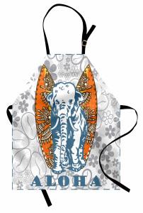 Fil ve Sörf Temalı Mutfak Önlüğü Tropikal Esintili