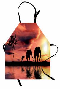 Gökyüzü Göl ve Filler Mutfak Önlüğü Sanatsal