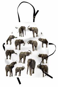 Göz Göze Filler Temalı Mutfak Önlüğü Beyaz Arka Planlı