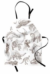 Kara Kalem Dinozorlar Mutfak Önlüğü Beyaz Fonlu