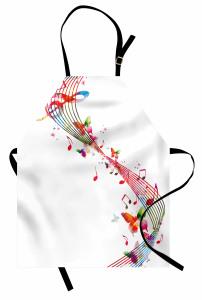 Renkli Nota ve Kelebek Mutfak Önlüğü Beyaz