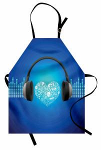 Müzik Severler İçin Mutfak Önlüğü Mavi Arka Planlı