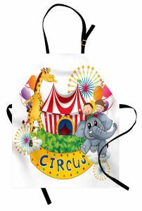 Sirkte Zürafa ve Fil Mutfak Önlüğü Rengarenk