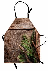 Çam Ağacı ve Boynuz Mutfak Önlüğü Ahşap Fonlu