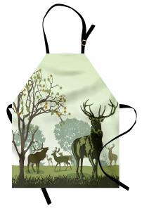 Geyik Ağaç ve Sonbahar Mutfak Önlüğü Beyaz