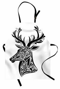 Siyah Beyaz Geyik Başı Mutfak Önlüğü Sanatsal