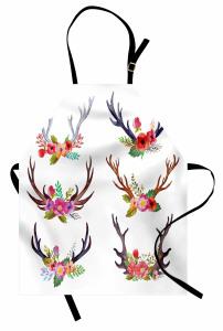 Renkli Çiçekli Boynuz Mutfak Önlüğü Beyaz
