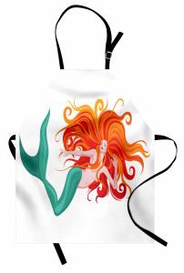 Kızıl Saçlı Deniz Kızı Mutfak Önlüğü Trend
