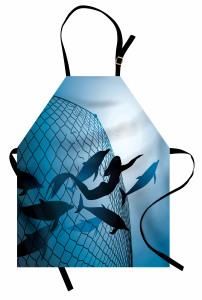 Yüzen Deniz Kızı Temalı Mutfak Önlüğü Yunuslar Mavi