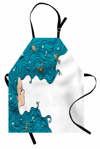 Mavi Saçlı Deniz Kızı Mutfak Önlüğü Balık