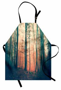 Ormanda Sonbahar Temalı Mutfak Önlüğü Ağaç Sis