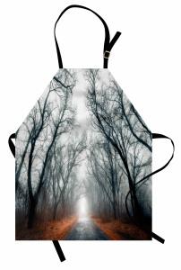 Sisli Yol Manzaralı Mutfak Önlüğü Ağaç Orman Yaprak