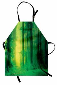 Sessiz Orman Temalı Mutfak Önlüğü Doğa Ağaç Yeşil