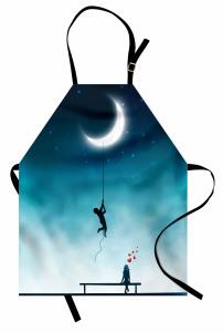 Aşk Temalı Mutfak Önlüğü Ay Gece Romantik Mavi