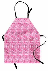 Zebra Desenli Mutfak Önlüğü Pembe Beyaz Şık