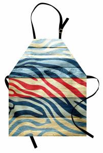 Rengarenk Zebra Desenli Mutfak Önlüğü Ahşap