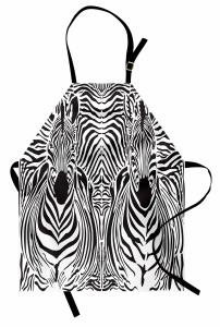 Zebra Portreli Mutfak Önlüğü Siyah Beyaz Çizgili