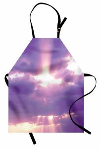 Mor Bulutlar Temalı Mutfak Önlüğü Gökyüzü Güneş