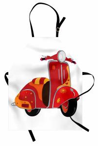 Hippi Temalı Mutfak Önlüğü Kırmızı Çiçek Motor