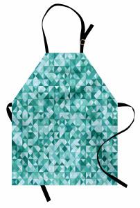 Mozaik Desenli Mutfak Önlüğü Üçgen Yeşil Şık
