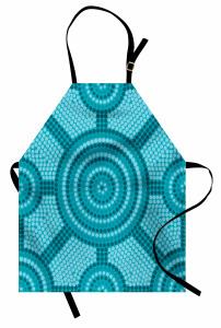 Mavi Mozaik Desenli Mutfak Önlüğü Yuvarlak Şık