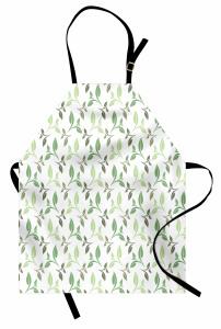 Yeşil Yaprak Desenli Mutfak Önlüğü Çeyizlik Şık