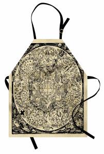Antik Harita Desenli Mutfak Önlüğü Nostaljik
