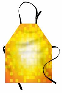 Kare Temalı Mutfak Önlüğü Sarı Turuncu Geometrik