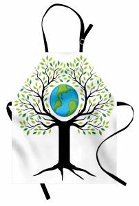 Toprak Ana Temalı Mutfak Önlüğü Yeşil Ağaç Dünya