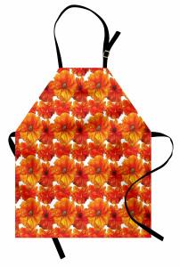 Gelincik Çiçeği Desenli Mutfak Önlüğü Romantik Gelincik Çiçekleri