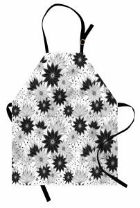 Çiçek Desenli Mutfak Önlüğü Siyah Beyaz Çeyizlik