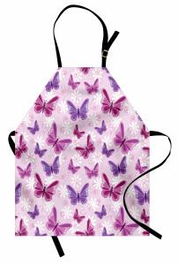 Kelebek Desenleri Mutfak Önlüğü Kelebek Desenleri Pembe Şık Tasarım