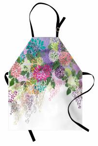 Rengarenk Çiçek Desenli Mutfak Önlüğü Yeşil Fon