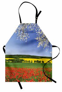 Gelincik ve Ağaç Temalı Mutfak Önlüğü Çiçekli