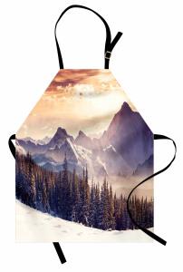 Karlı Dağlar ve Orman Mutfak Önlüğü Gün Batımı Çam Orman