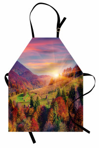 Ağaçlı Dağ Manzarası Mutfak Önlüğü Dağ Manzaralı