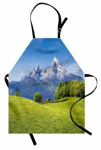 Karlı Dağ ve Orman Mutfak Önlüğü Orman Dağ Yeşil