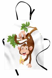 Muz ve Maymun Desenli Mutfak Önlüğü Çocuk İçin