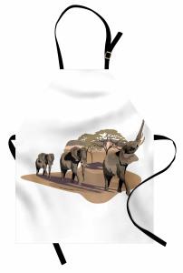Fil ve Ağaç Desenli Mutfak Önlüğü Safari Etkili