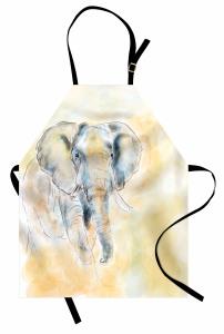 Sulu Boya Fil Desenli Mutfak Önlüğü Şık Tasarım